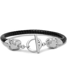 Silver-tone Leather Skull Bracelet