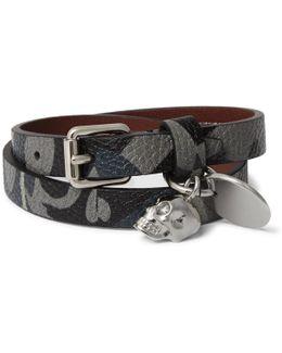 Camouflage-print Leather Wrap Bracelet