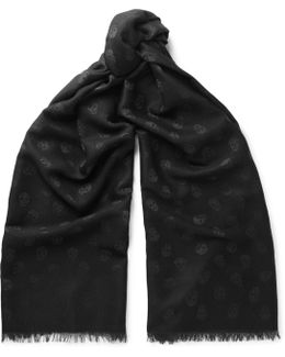 Wool And Silk-blend Skull Jacquard Scarf