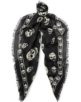 Skull-print Modal And Silk-blend Scarf