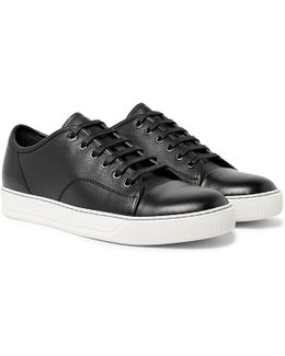 Cap-toe Pebble-grain Leather Sneakers