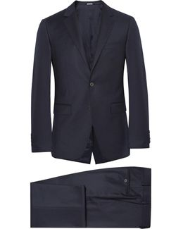 Blue Slim-fit Wool And Cashmere-blend Suit