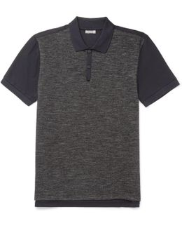 Slim-fit Piqué-panelled Wool And Cotton-blend Jersey Polo Shirt