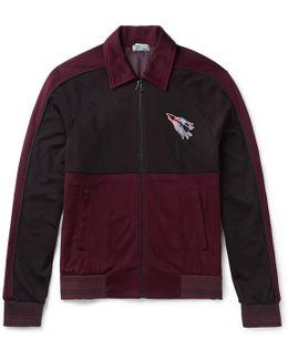 Embroidered Jersey Zip-up Sweatshirt