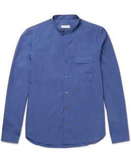 Grandad-collar End-on-end Cotton Shirt