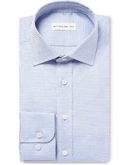 Blue Slim-fit Cotton-jacquard Shirt