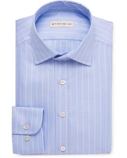 Blue Slim-fit Striped Cotton-jacquard Shirt