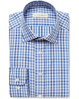Blue Slim-fit Gingham Cotton-poplin Shirt
