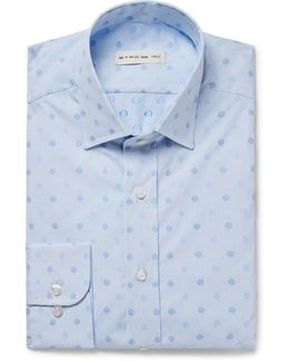 Blue Slim-fit Embroidered Polka-dot Cotton-poplin Shirt