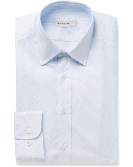 Blue Slim-fit Cotton-jacquard Shirt