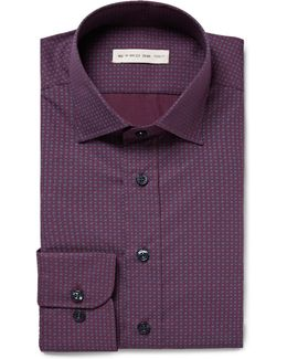 Purple Slim-fit Patterned Cotton-poplin Shirt