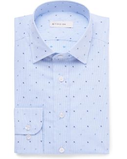 Slim-fit Paisley-embroidered Gingham Cotton Shirt
