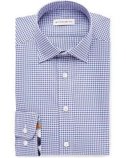 Navy Slim-fit Cutaway-collar Gingham Cotton Shirt