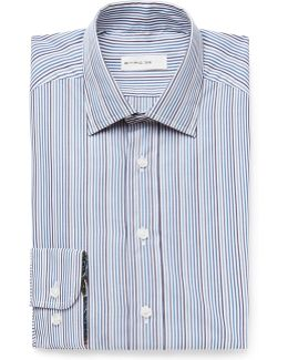Blue Slim-fit Striped Cotton-poplin Shirt