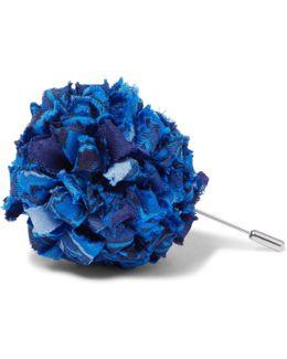 Patterned Silk-faille Flower Lapel Pin