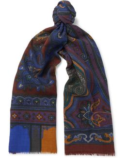 Paisley Wool And Yak-blend Scarf