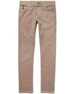 Slim-fit Stretch-cotton Twill Trousers