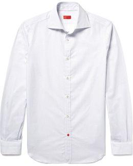 Slim-fit Pin-dot Textured Cotton-poplin Shirt