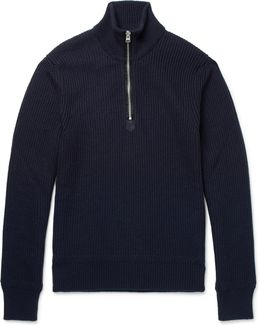 Ribbed Wool And Cashmere-blend Half-zip Sweater
