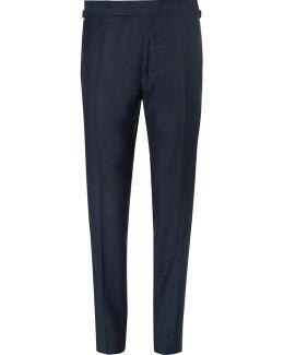Blue Wool Suit Trousers