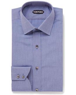 Blue Slim-fit End-on-end Cotton Shirt