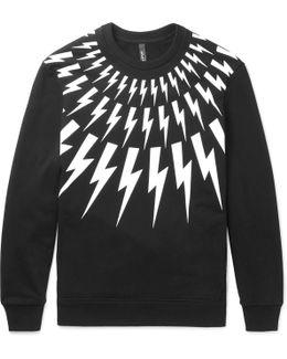 Lightning-bolt Print Hooded Cotton Sweatshirt