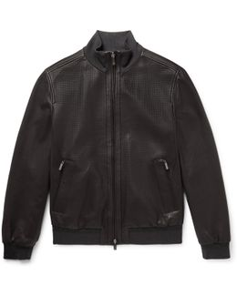 Reversible Perforated Leather And Shell Bomber Jacket