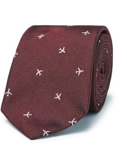 6.5cm Embroidered Silk-faille Tie
