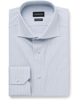 Blue Slim-fit Cutaway-collar Striped Cotton-poplin Shirt