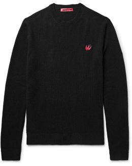 Slim-fit Appliquéd Wool And Cashmere-blend Sweater