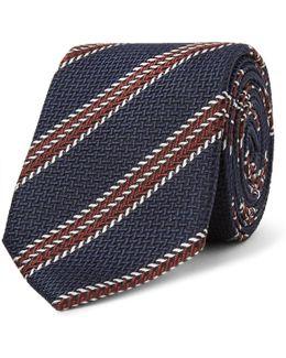 7cm Striped Silk-jacquard Tie