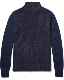 Ribbed Mélange Cashmere Coarsehair Zip-up Sweater