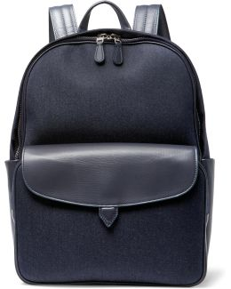 Journey Leather-trimmed Denim Backpack