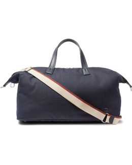 Voyager Leather-trimmed Denim Holdall