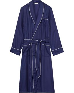 Lombard Piped Cotton-jacquard Robe