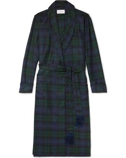 Black Watch Checked Wool-twill Robe
