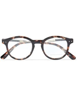 Round-frame Intrecciato Leather-trimmed Tortoiseshell Acetate Optical Glasses