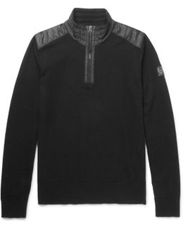 Kilmington Quilted Shell-trimmed Merino Wool Half-zip Sweater