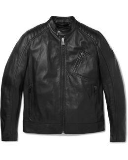 V Racer Slim-fit Leather Jacket