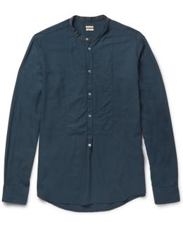 Kos Grandad-collar Twill Shirt