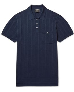 Striped Knitted Silk And Cotton-blend Polo Shirt