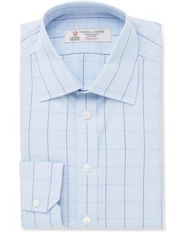 Blue Slim-fit Prince Of Wales Checked Cotton Shirt