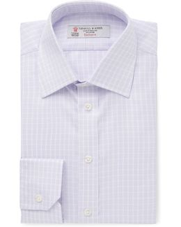 Purple Slim-fit Checked Cotton-twill Shirt