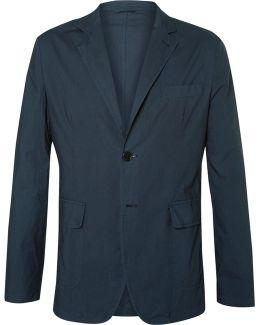 Blue Slim-fit Unstructured Cotton Blazer