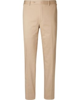 Beige Sienna Stretch-cotton Twill Suit Trousers
