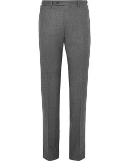 Grey Super 120s Wool-flannel Trousers