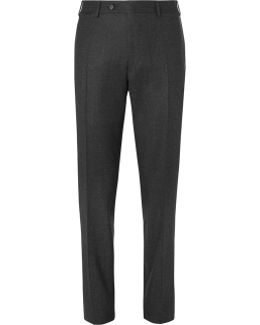 Grey Slim-fit Super 120s Wool-flannel Trousers