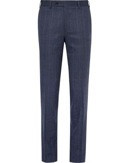 Blue Prince Of Wales Checked Stretch-wool Trousers