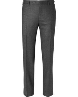 Grey Slim-fit Pin-dot Stretch-wool Trousers