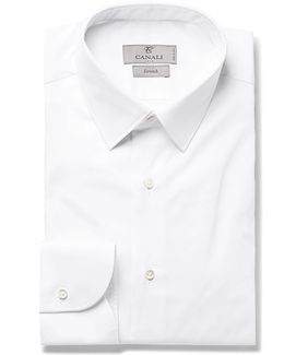 White Slim-fit Stretch Cotton-blend Shirt